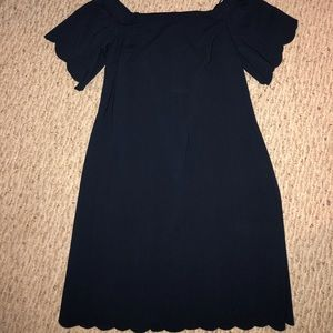 Navy Scalloped off the shoulder dress